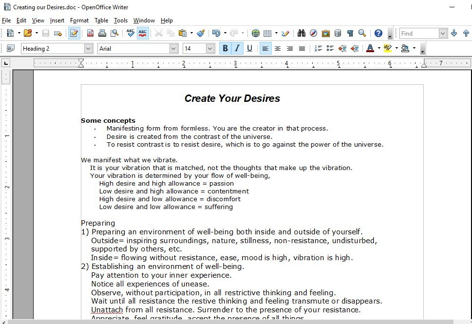 Create Your Desires Exercise